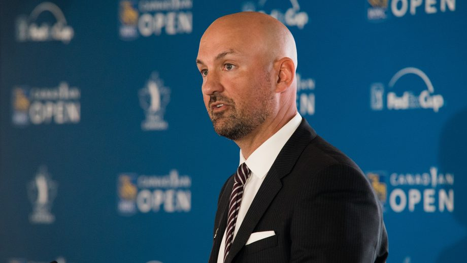 Laurence Applebaum at press conference for RBC Canadian Open in 2018