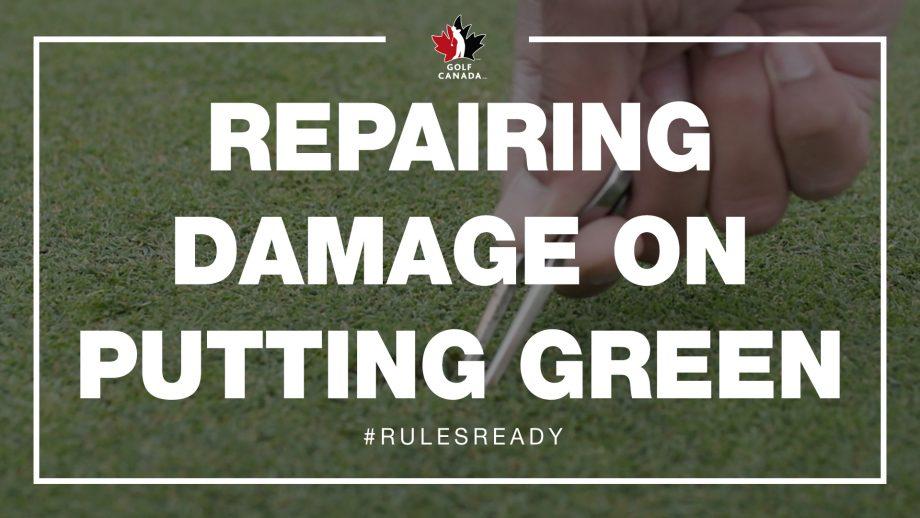 Repairing damage on putting green