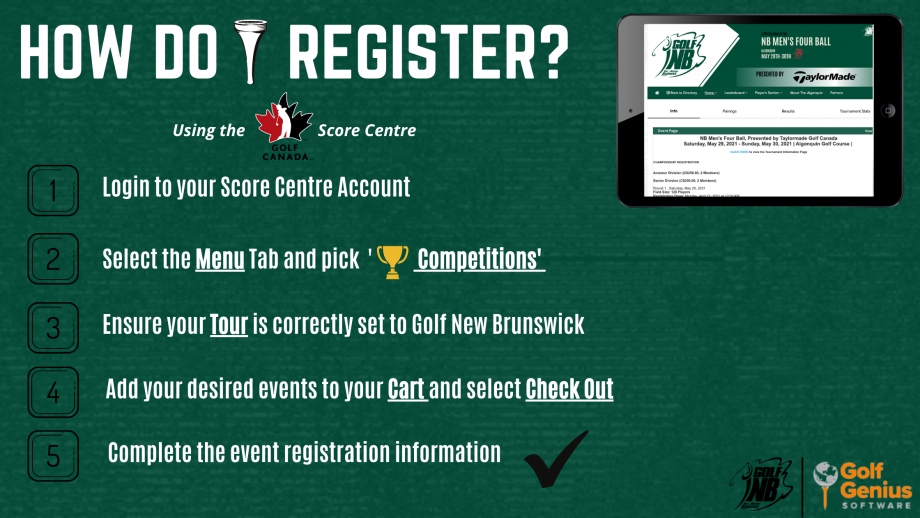 Register with the Golf Canada Score Centre