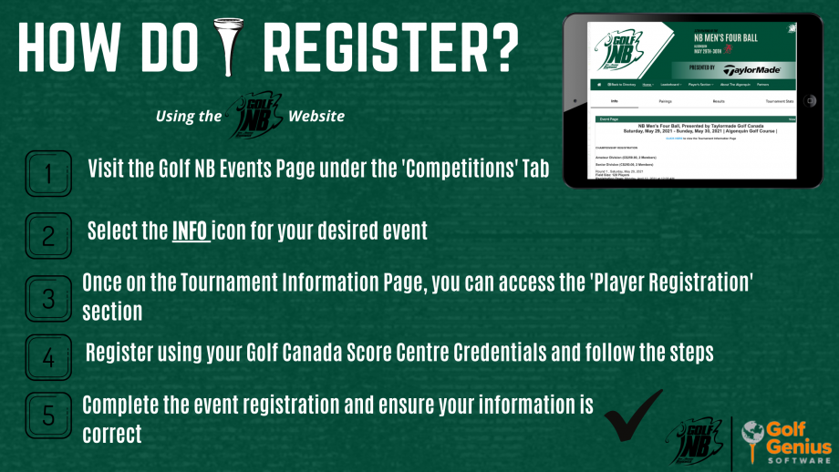 Register with the Golf NB Website